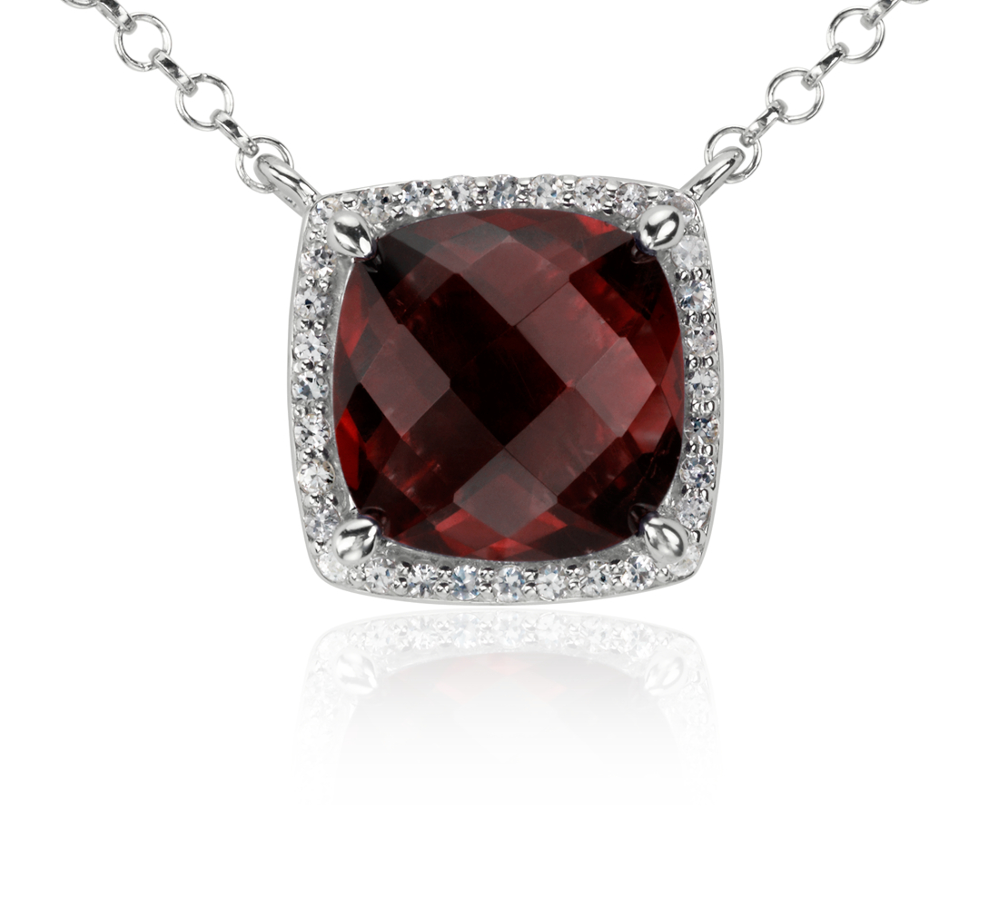Garnet and White Topaz Single Halo Necklace in Sterling Silver