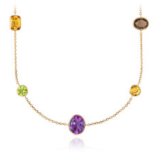 "Multicolour Gemstone Necklace in 14k Yellow Gold (34"" Long)"