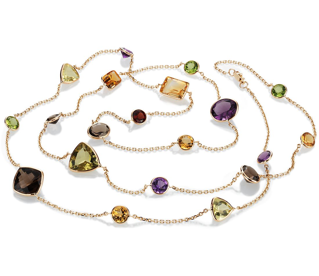 "Long Multi-Gemstone Necklace in 14k Yellow Gold (34"")"