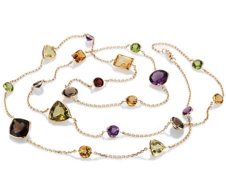 Collier long de pierres gemmes multiples en or jaune 14carats 86,4cm