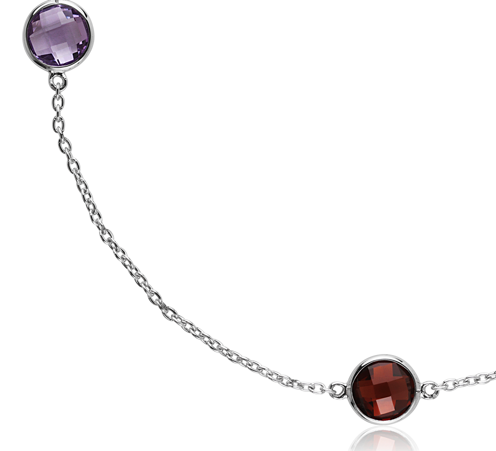 Multi Colour Gemstone Necklace in Sterling Silver - 18