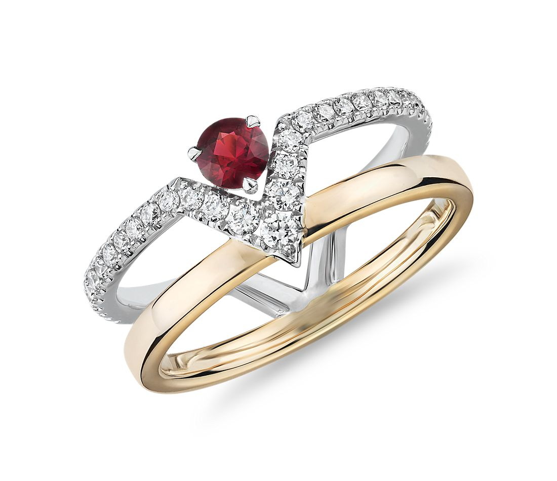 Geometric Double Band Ruby and Diamond Ring in 18k White and Rose Gold (3.5mm)