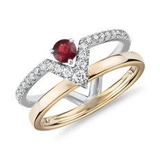 18k 白金及玫瑰金小巧幾何兩排紅寶石鑽石戒指(3.5毫米)