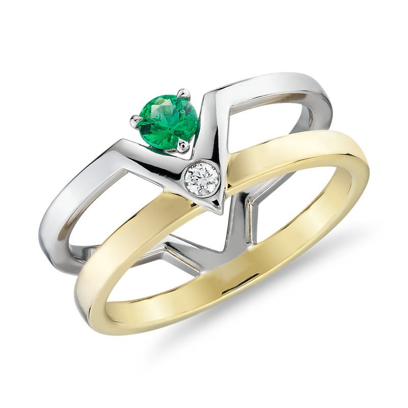 Geometric Double Band Emerald and Diamond Ring in 18k White and Y