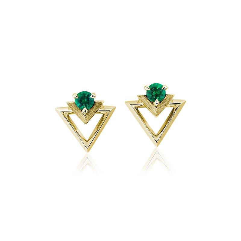 Geometric Emerald Earrings in 18k Yellow Gold (3.5mm)