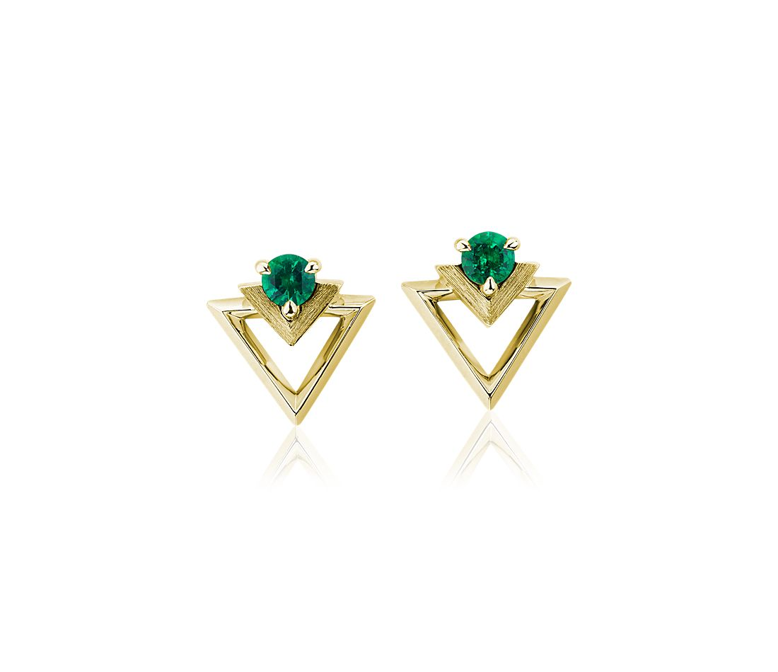 Geometric Emerald Earrings in 18k Yellow Gold (3.5mm)