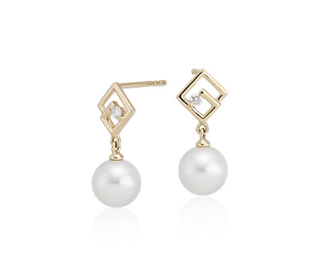 Geometric Freshwater Pearl Drop Earrings with Diamond Detail in 14k Yellow Gold