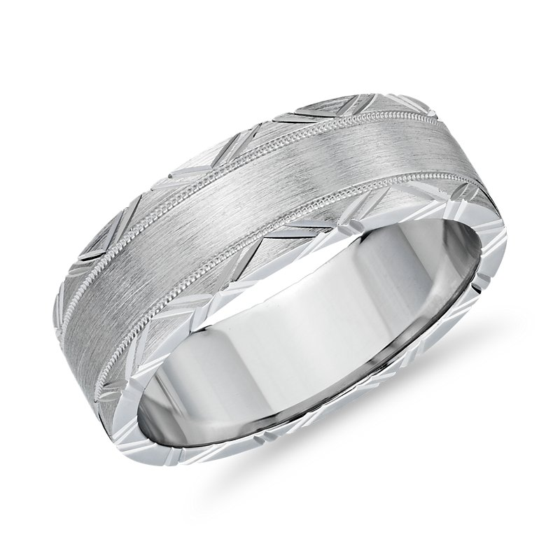 Geometric Rollover Engraved Band with Milgrain in 14k White Gold
