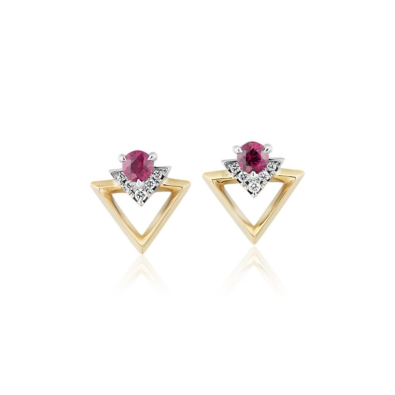 Geometric Ruby and Diamond Earrings in 18k White and Yellow Gold