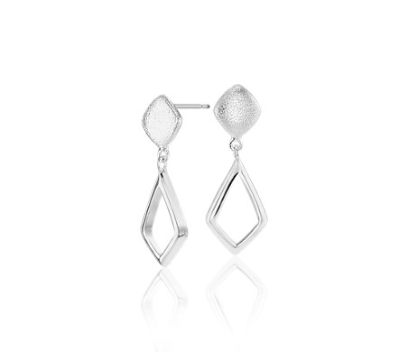 Geometric Teardrop Outline Earrings in Sterling Silver