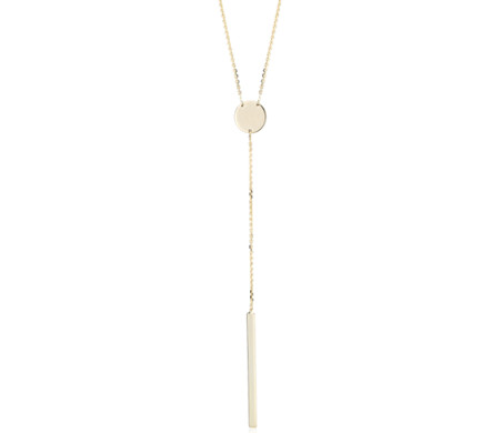 Gold Bar Lariat Necklace in 14k Yellow Gold