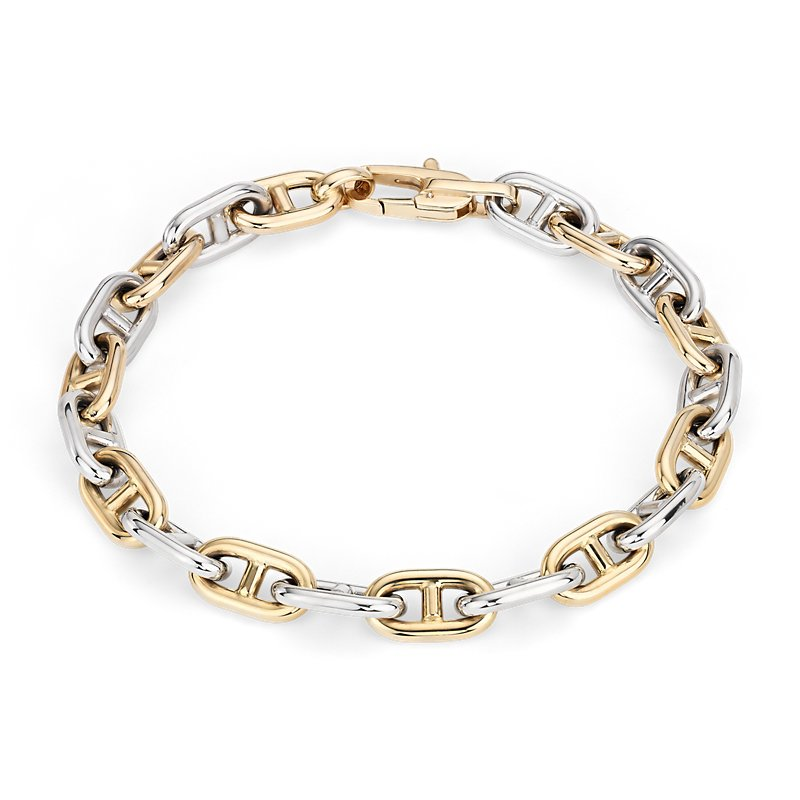 Mens High Polish Alternating Mariner Link Bracelet in 14k Italian
