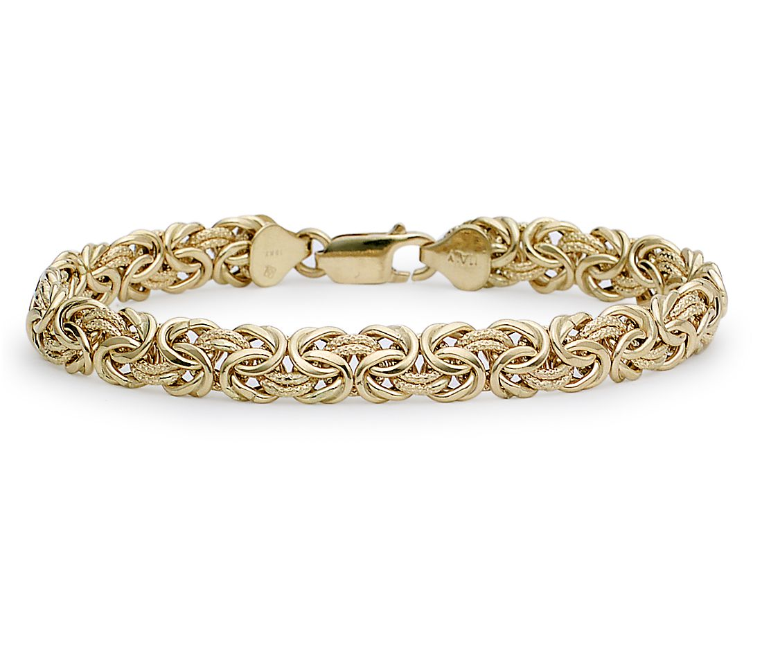 Gold Jewelry Bracelets: Byzantine Bracelet In 18k Yellow Gold