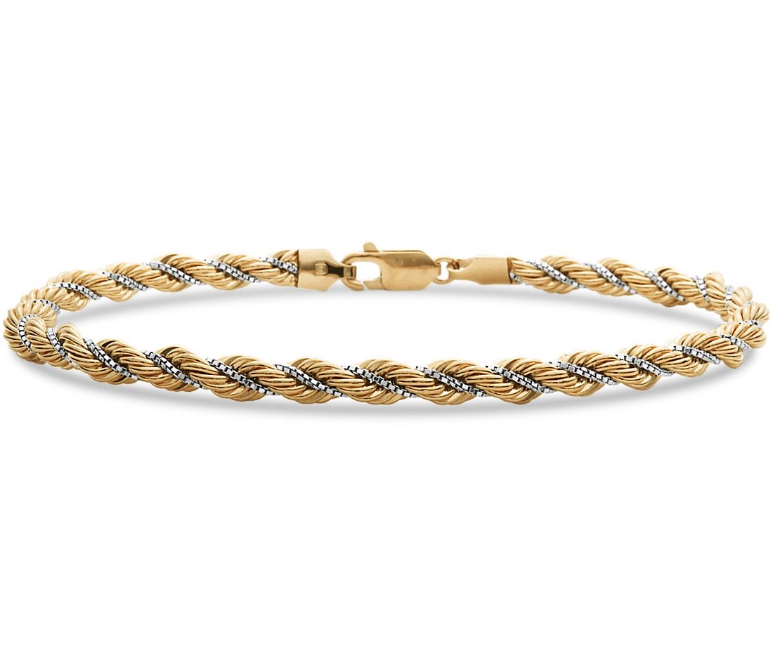 White Gold Chain Bracelet: Rope Chain Bracelet In 18k Yellow And White Gold
