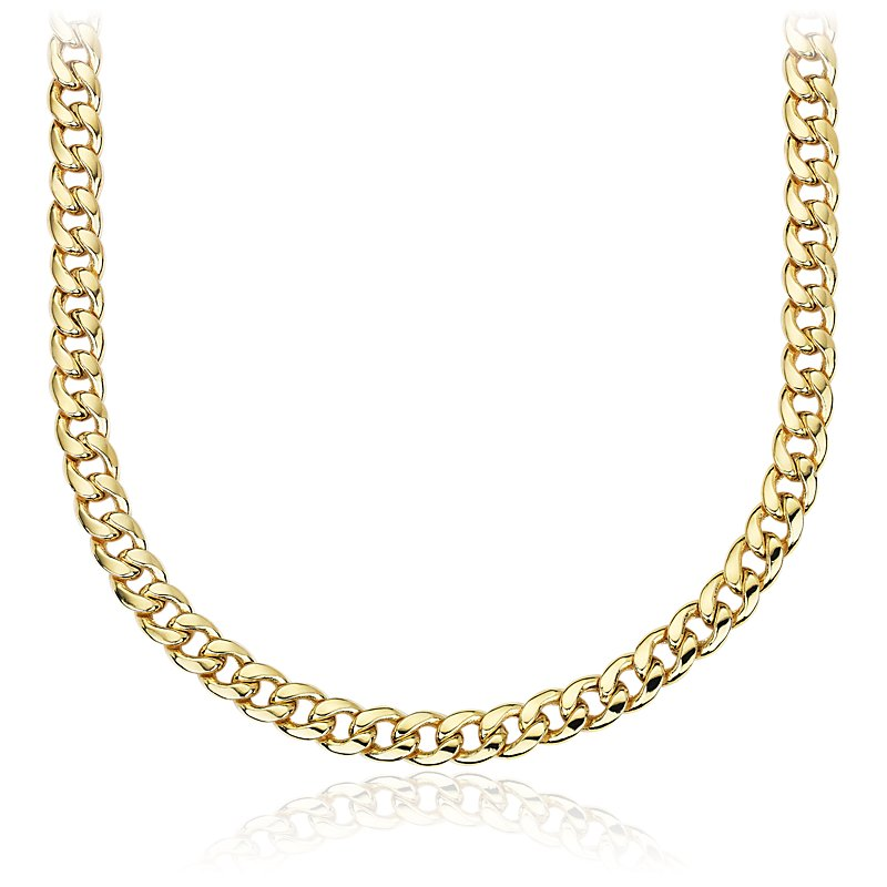 Mens Miami Cuban Link Chain in 14k Yellow Gold