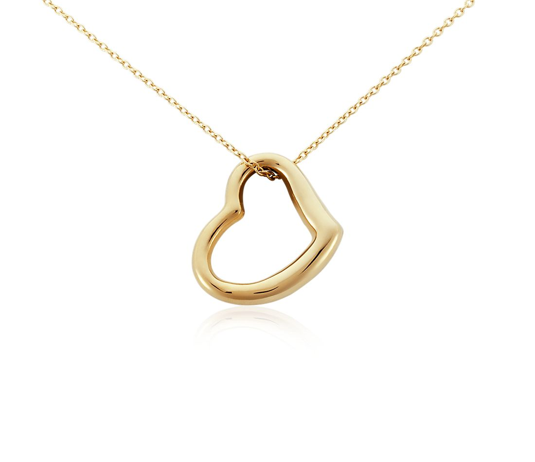 open heart pendant in 14k yellow gold blue nile. Black Bedroom Furniture Sets. Home Design Ideas