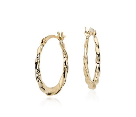 14k 黃金 小巧扭紋圈形耳環<br>( 3/4 英寸)
