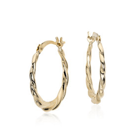 "Petite Twisted Hoop Earrings in 14k Yellow Gold (3/4"")"