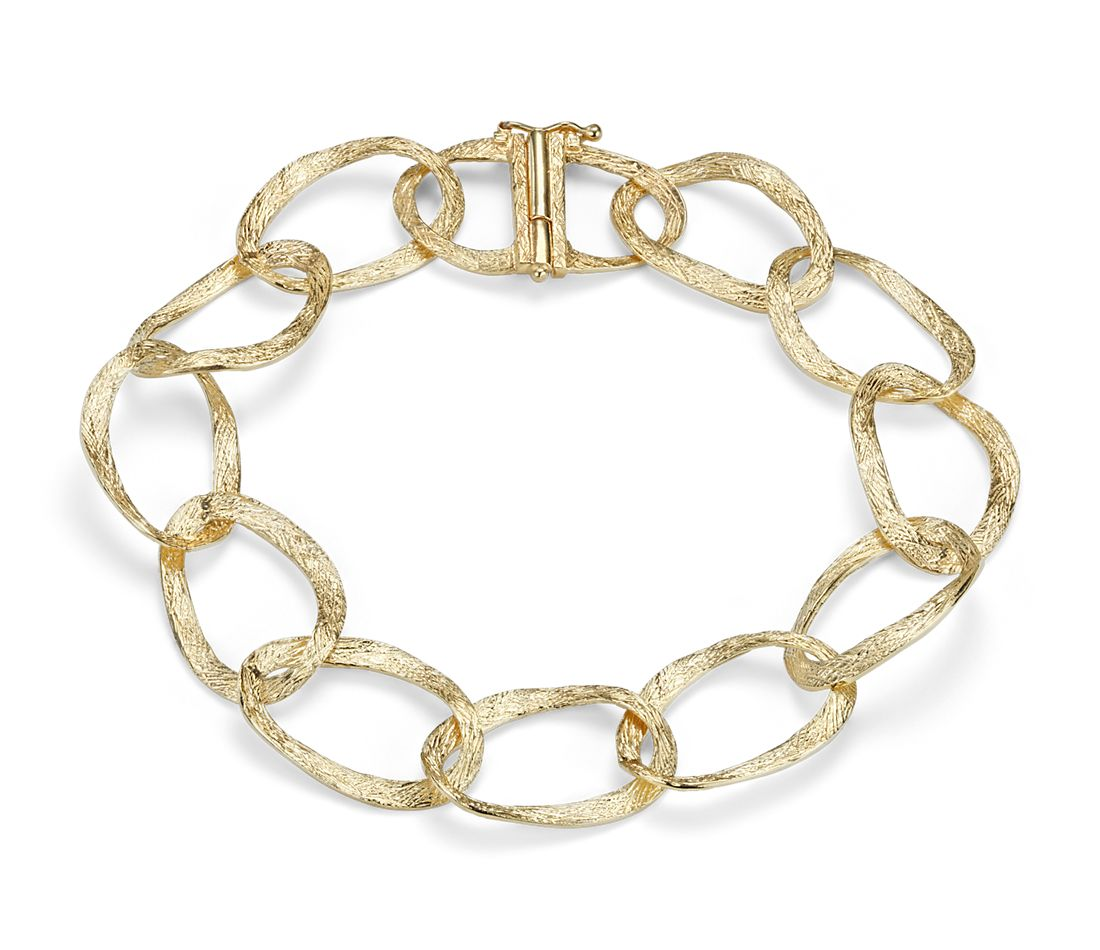 Hammered Linked Bracelet In 14k Yellow Gold