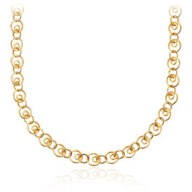 Circle Linked Necklace in Brushed 14k Yellow Gold