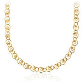 Collier à maillons cercle en or jaune 14carats brossé