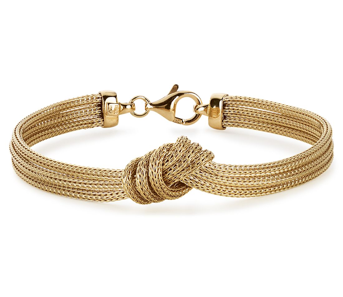 Love Knot Mesh Bracelet in 14k Yellow Gold