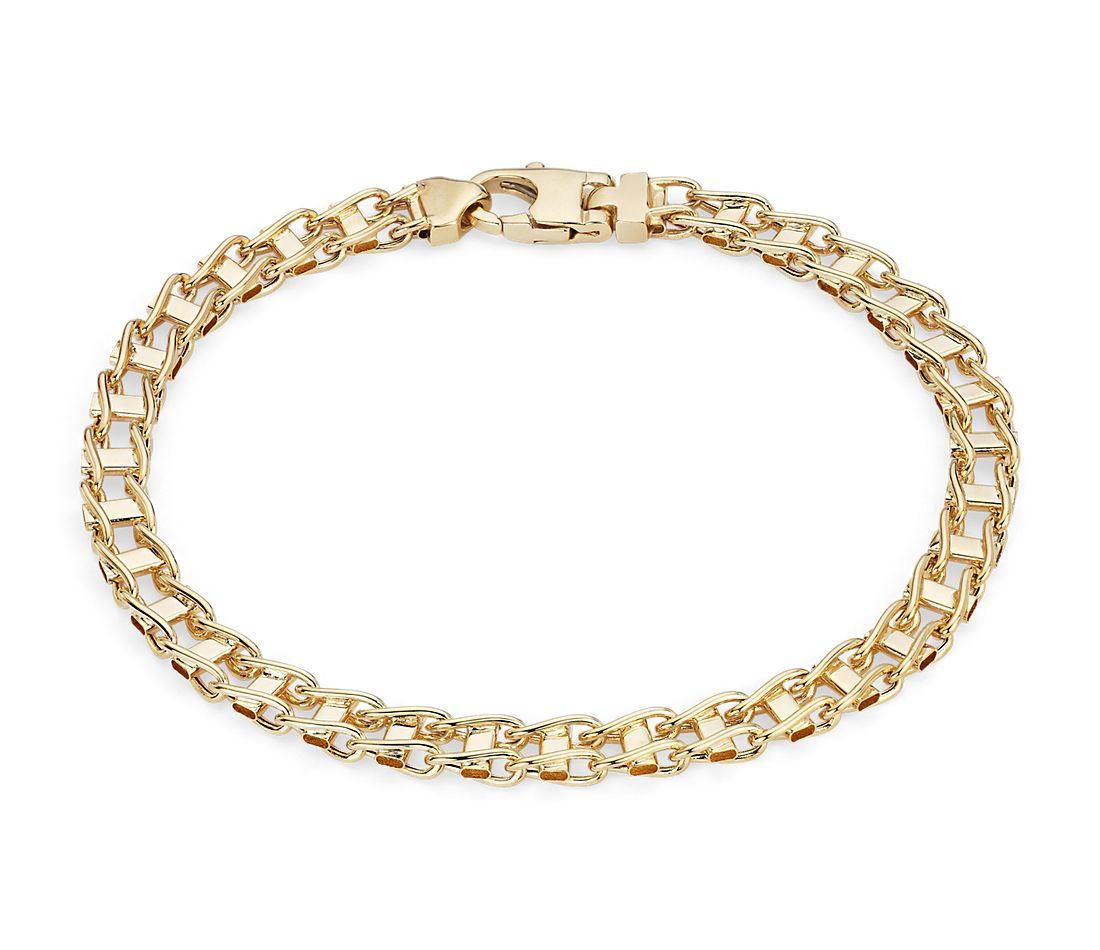 Men's High Polish Rail Road Link Bracelet in 14k Italian Yellow Gold