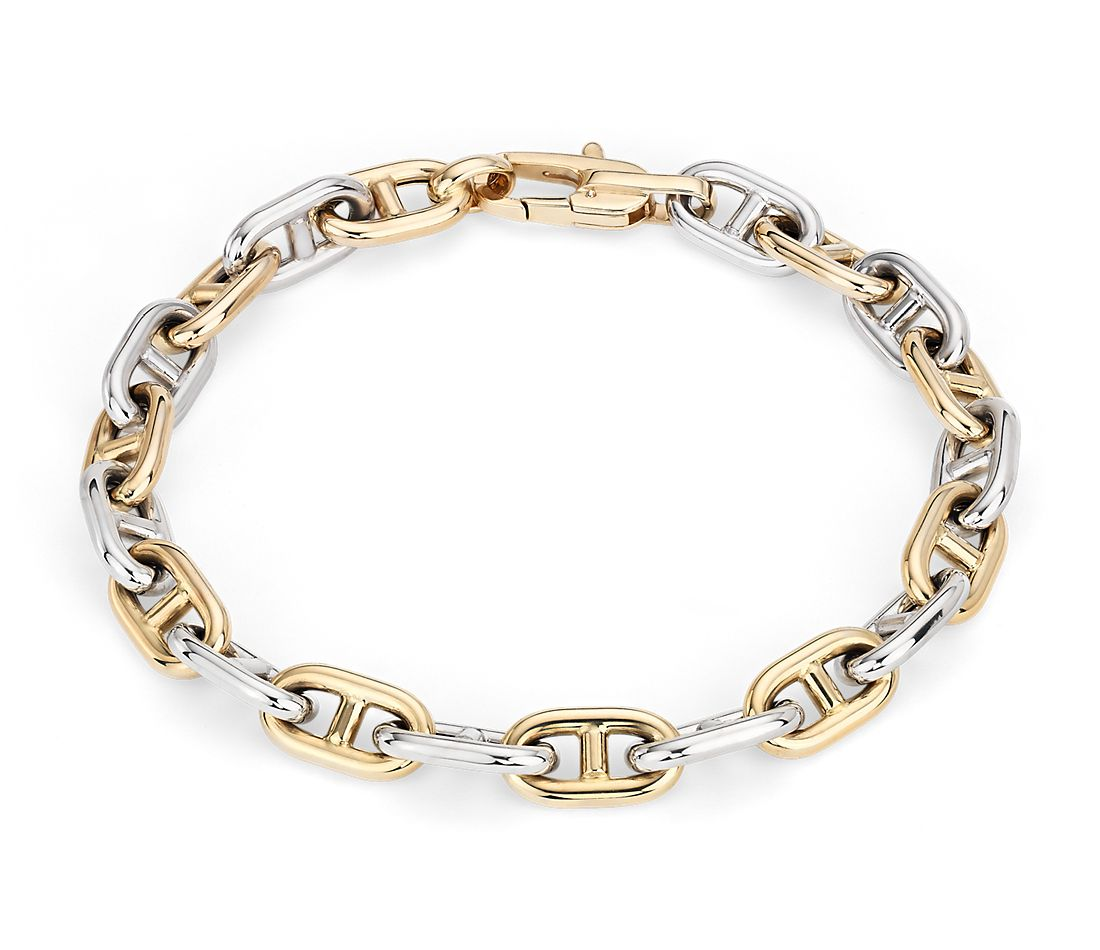 Men's High Polish Alternating Mariner Link Bracelet in 14k Italian White and Yellow Gold