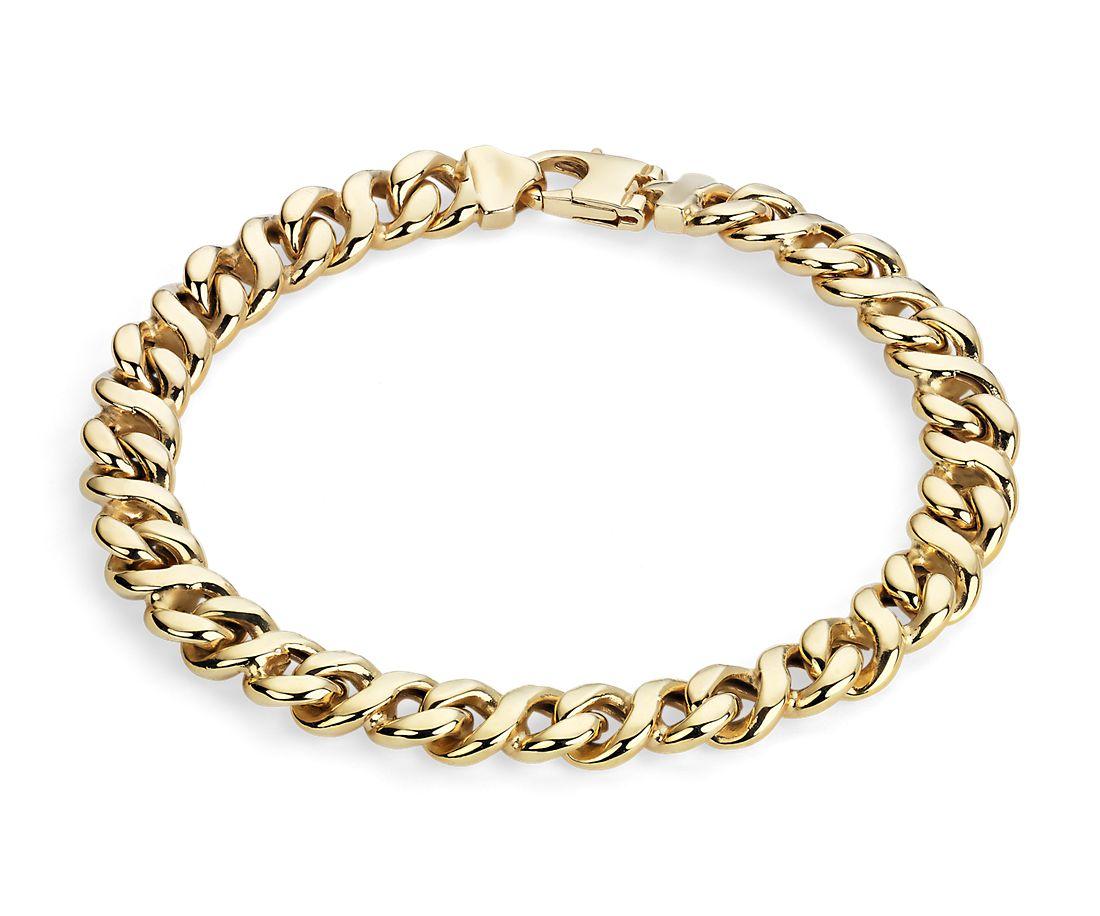 Men's High Polish Oval Bracelet in 14k Italian Yellow Gold