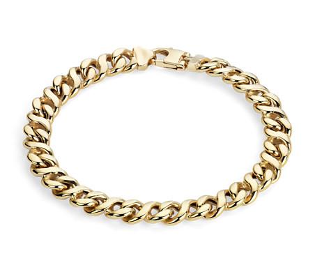 Bracelet ovale poli pour hommes en or jaune italien 14carats