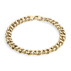 Men's High Polish Oval Bracelet in 14k Italian Yellow Gold