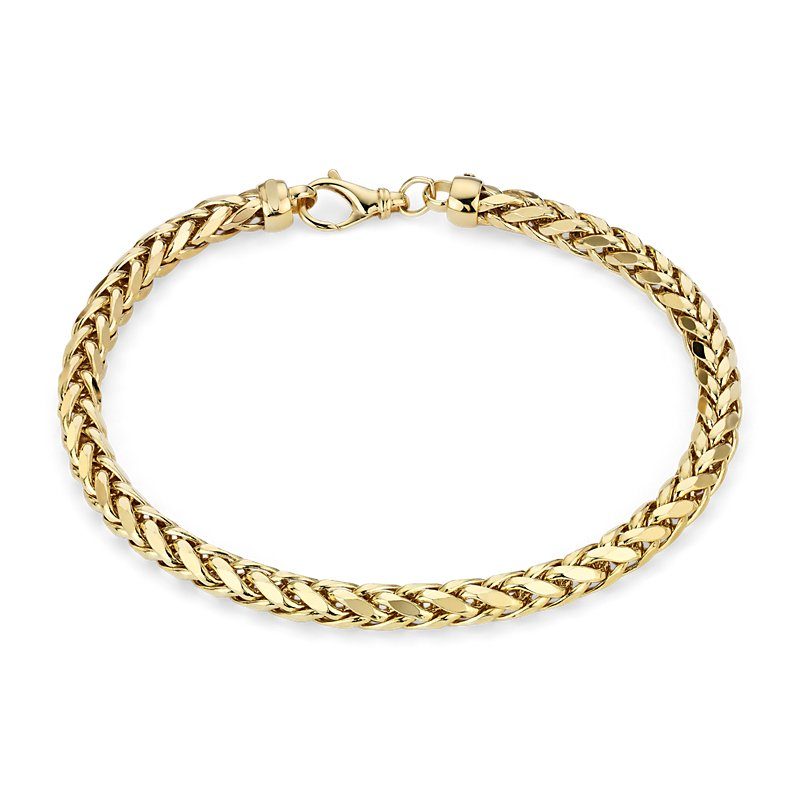 Mens Diamond Cut Square Franco Bracelet in 14k Yellow Gold
