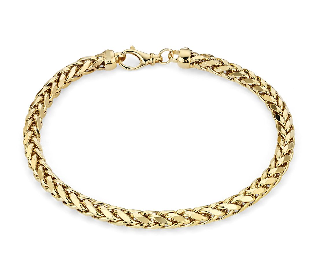 752010a3d87 Men s Diamond Cut Square Franco Bracelet in 14k Yellow Gold