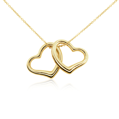 Classic Double Heart Pendant in 14k Yellow Gold Blue Nile