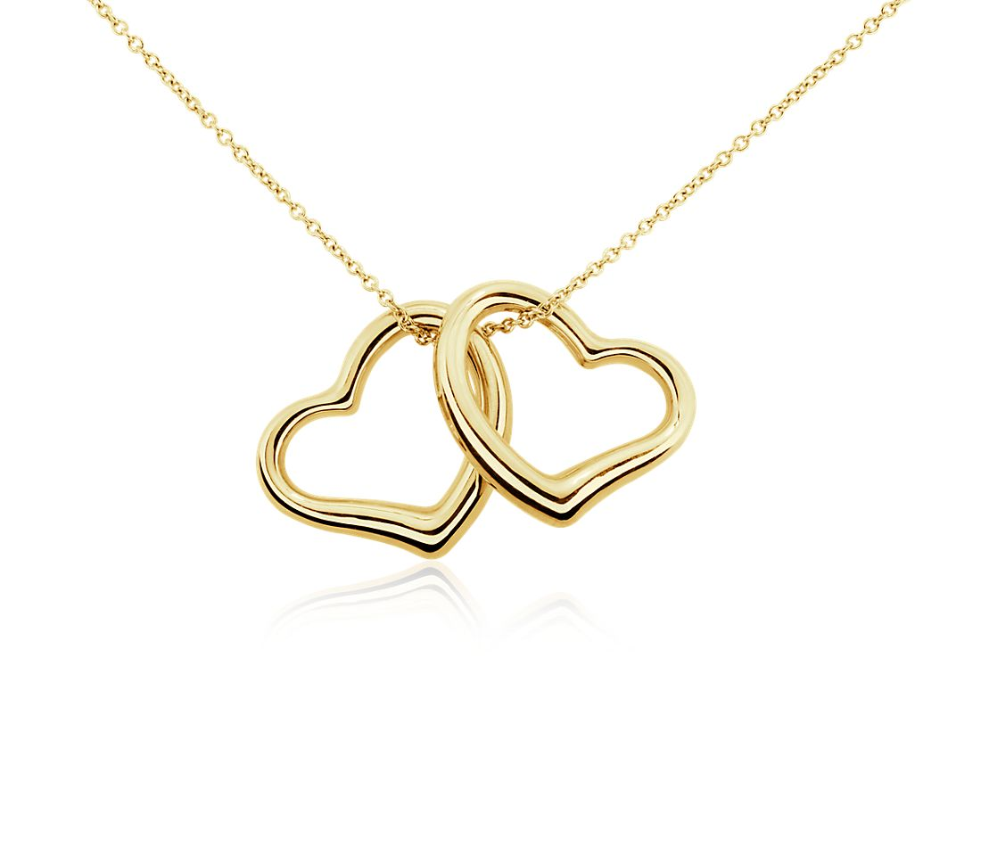 14K Yellow Gold Delicate Heart Pendant With Necklace