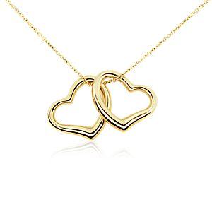 Colgante clásico de dos corazones en oro amarillo de 14k