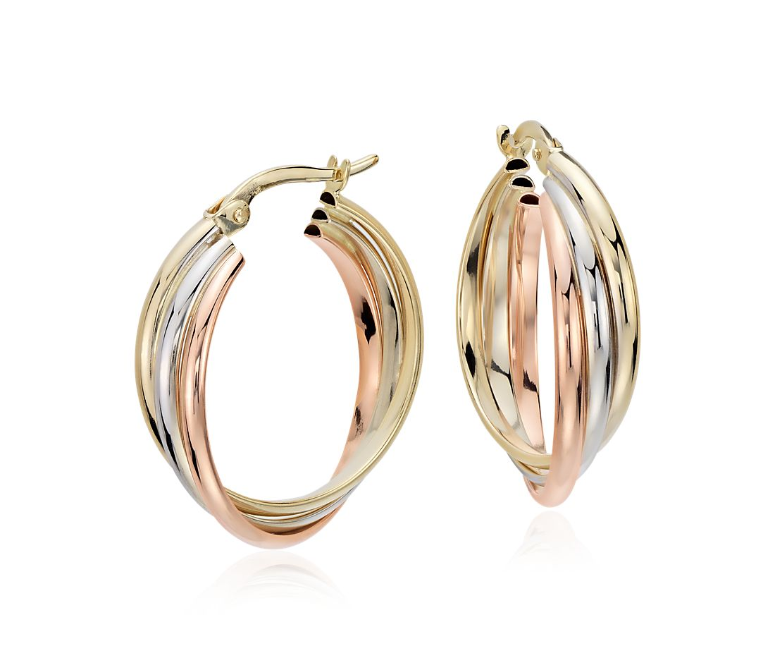 Hoop Earrings In 14k Tri Color Gold 3 4
