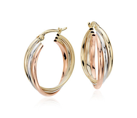 "Hoop Earrings in 14k Tri-Colour Gold (3/4"")"