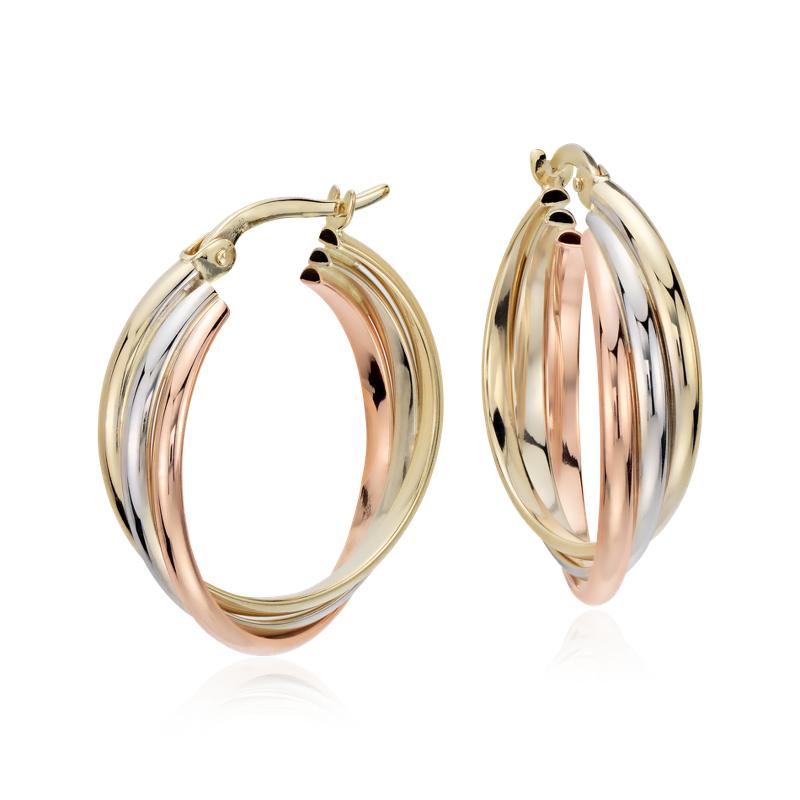 """Hoop Earrings in 14k Tri-Color Gold (3/4"""")"""