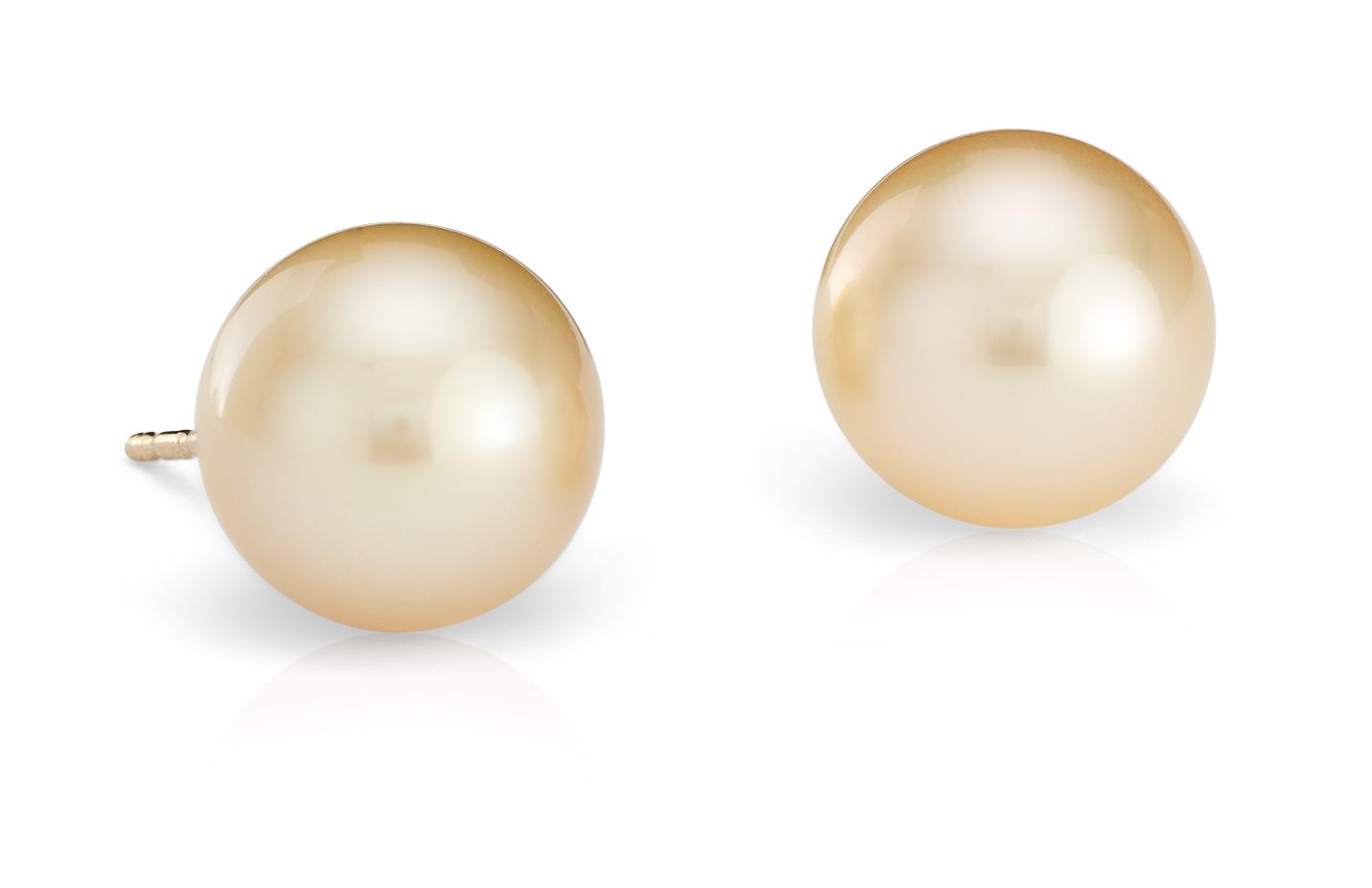 Aretes de perlas cultivadas del mar del Sur doradas en oro amarillo de 18k (9.4mm)