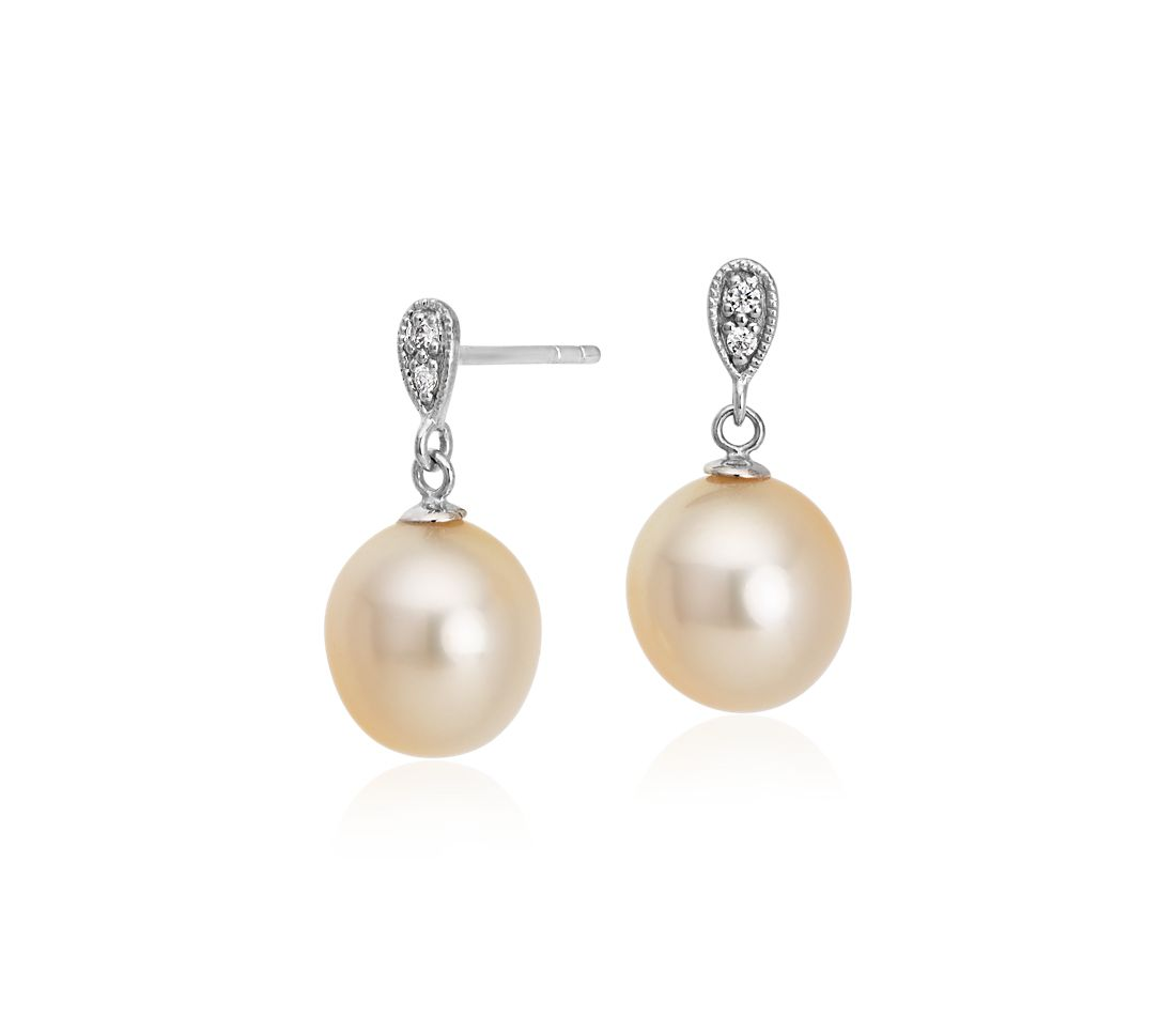 Golden South Sea Cultured Pearl and Diamond Drop Earrings in 14k White Gold (9-9.5mm)