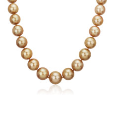 Golden South Sea Graduated Pearl Necklace with Diamond Clasp