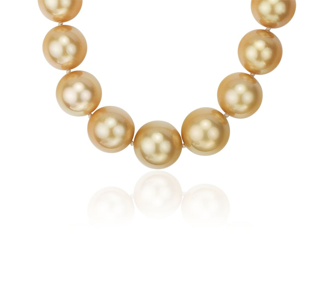 Golden South Sea Cultured Pearl Necklace with Diamond Clasp in 18k Yellow Gold (12-14mm)