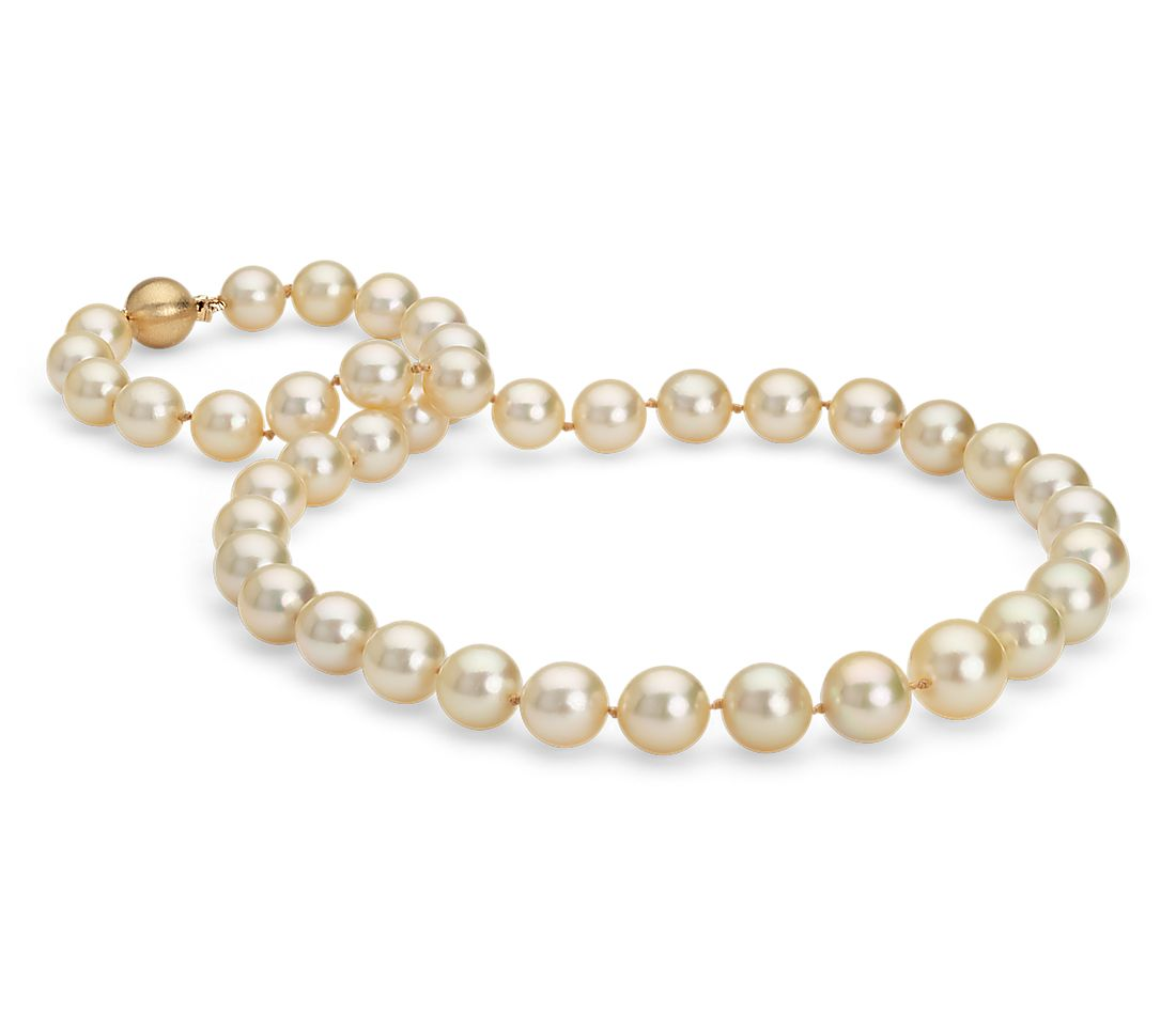 Golden South Sea Cultured Pearl Strand Necklace in 18k Yellow Gold (9-11mm)