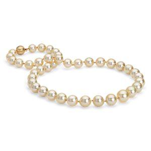 Collar de perlas doradas cultivadas de los mares del Sur en oro amarillo de 18k (9-11mm)