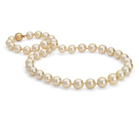 Collier de perle en perles de culture des mers du Sud dorée en or jaune 18carats (9-11mm)