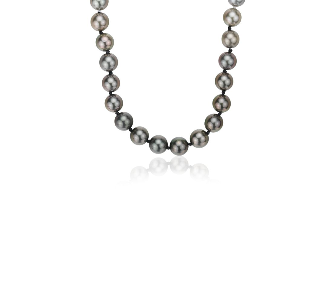 Gradient Akoya and Tahitian Cultured Pearl Strand in 18k White Gold (8-8.5mm)