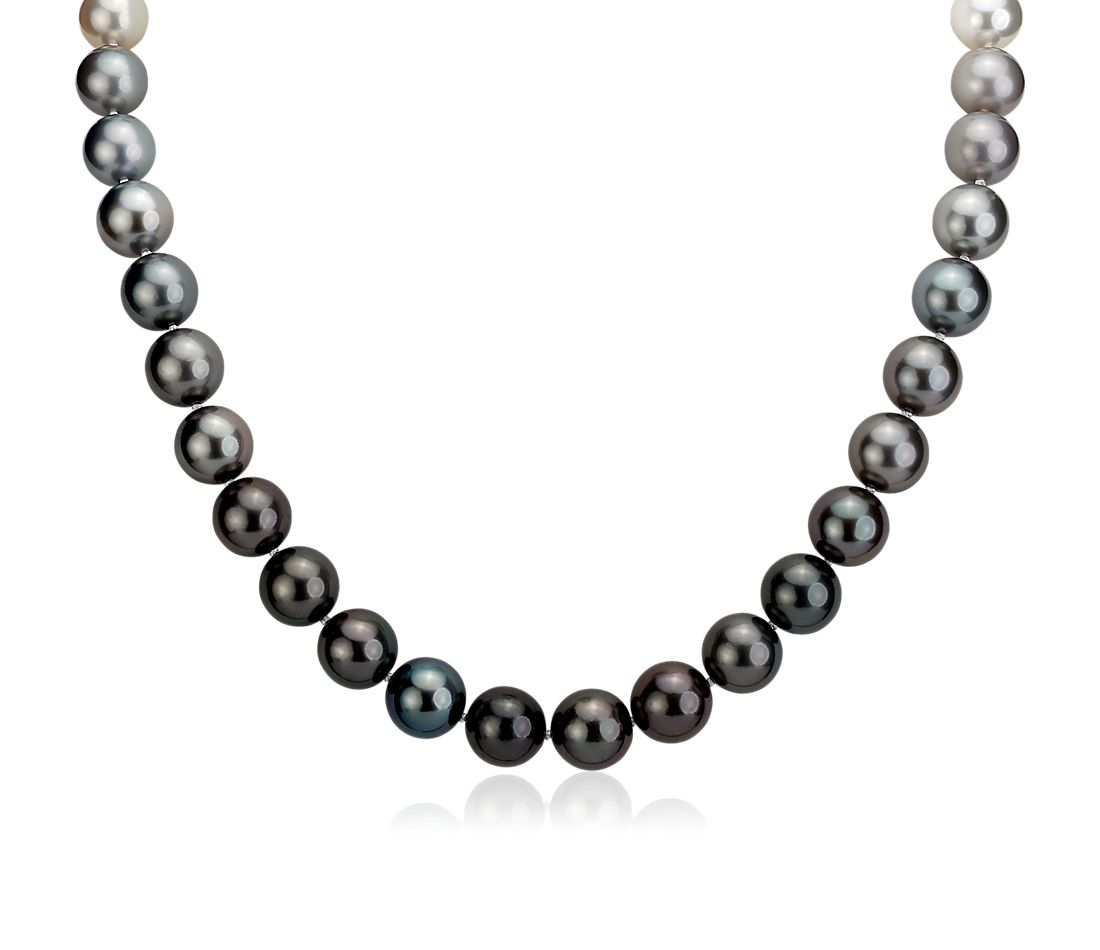 Gradient South Sea and Tahitian Pearl Necklace in 18k White Gold (9-11mm)