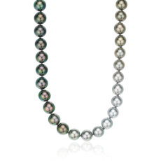 "Gradient Tahitian Cultured Pearl Strand in 18k White Gold - 39.5"" Long (9-10mm)"