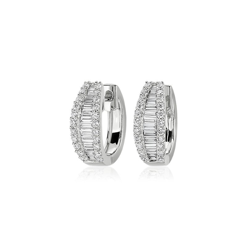 Graduated Baguette and Round Diamond Hoop Earrings in 14k White G